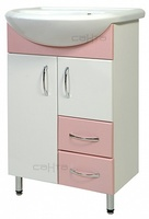 Тумба с раковиной СанТа Уют 55 2 двери 2 ящика розовая